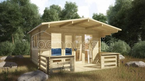 Cork Log Cabin Exterior With Veranda