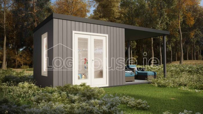 Carlow Contemporary Log Cabin Exterior