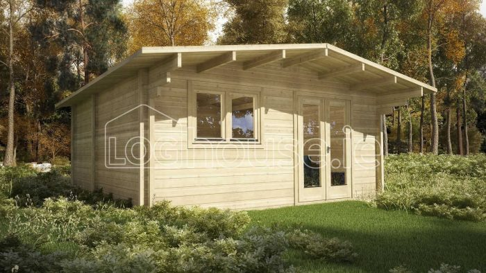 Dublin One Bed Studio Log Cabin Exterior