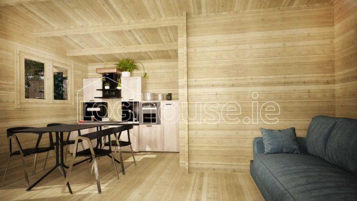 Dublin One Bed Studio Log Cabin Interior