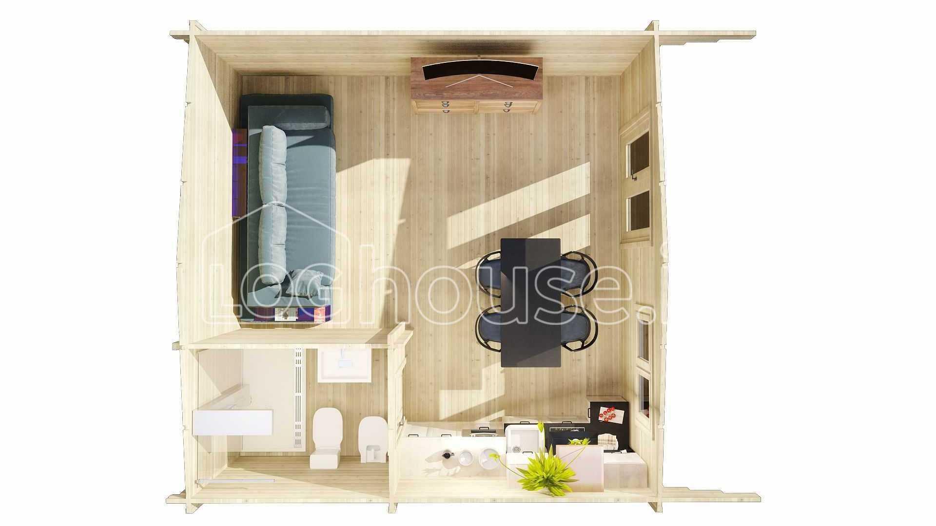 Dublin Studio Log Cabin 5m X 5m Loghouse Ie