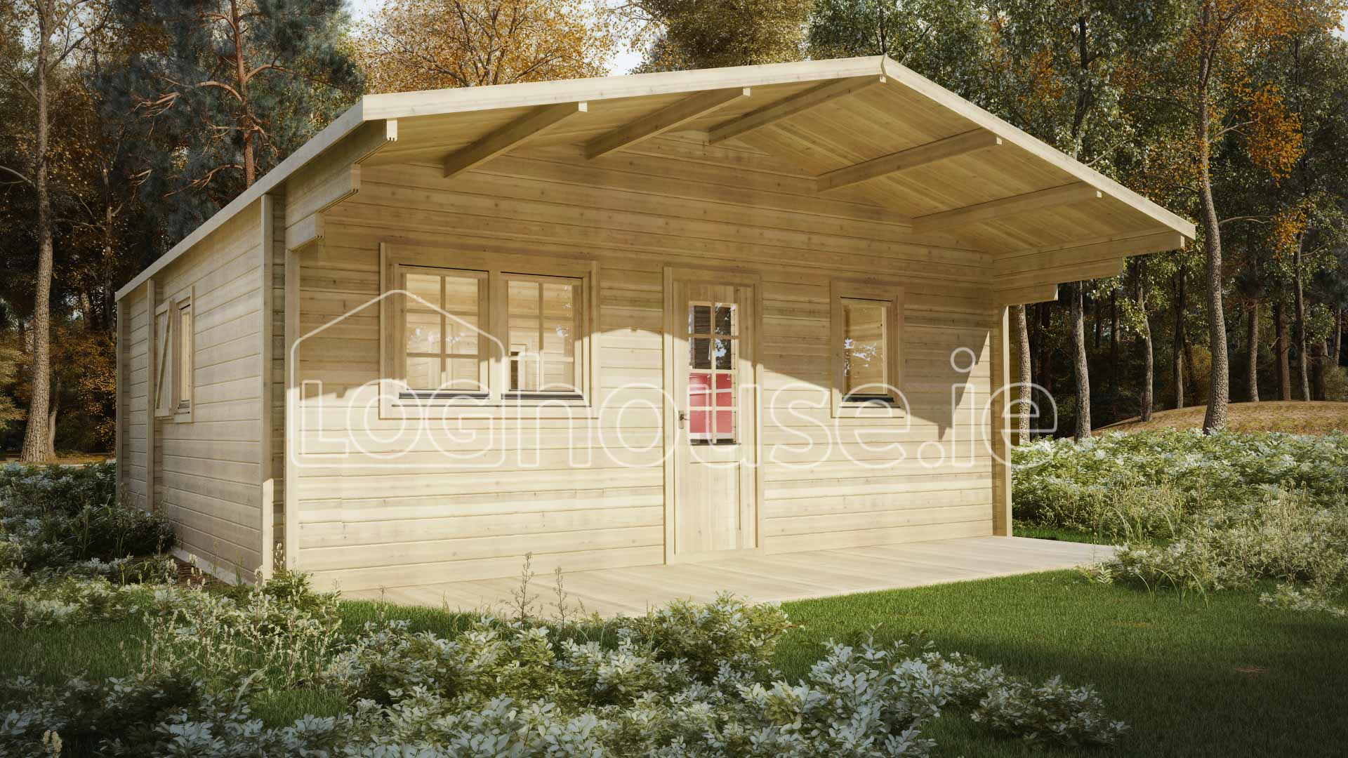 Eco two bed b log cabin 6m x 6m for 2 bed log cabins for sale