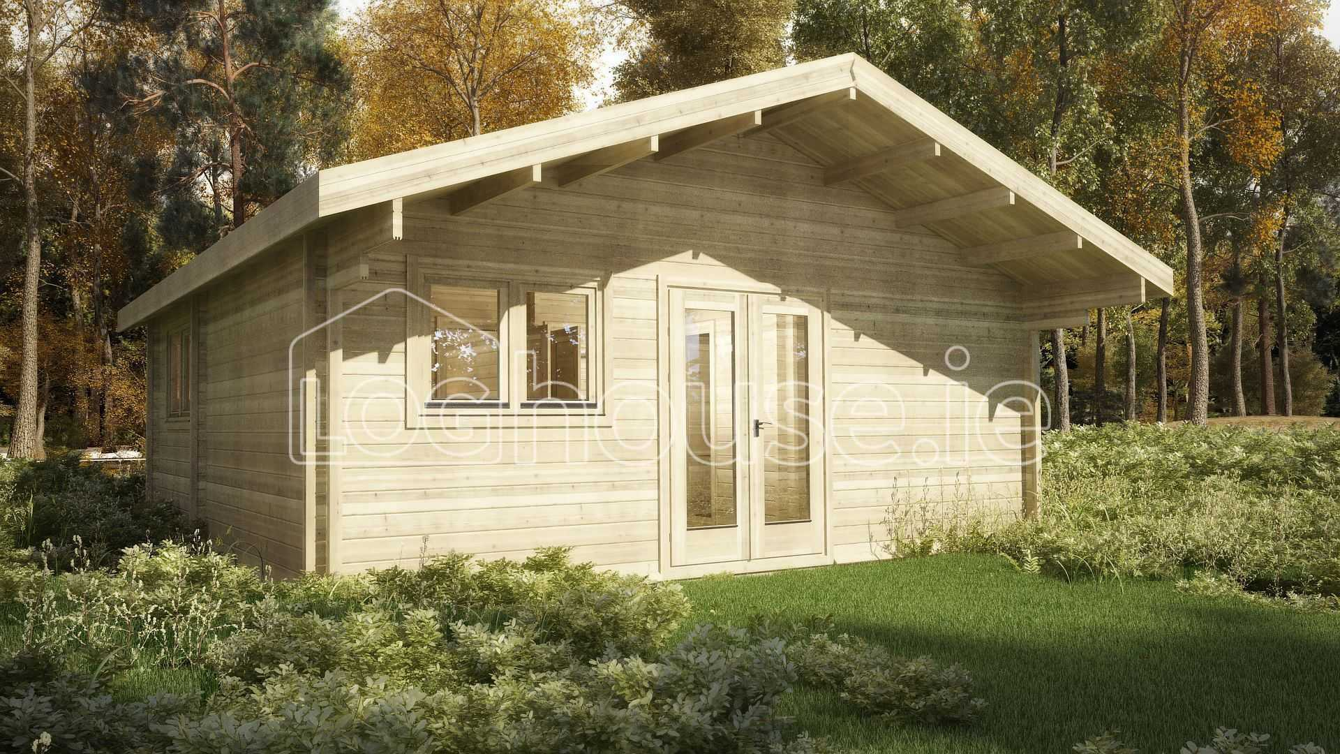 Two bed type d log cabin 6m x 6m for Log cabin extensions
