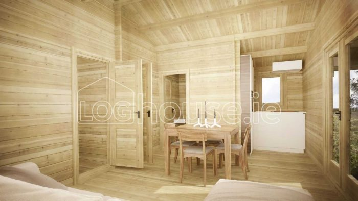 Two Bed Type D Log Cabin Interior