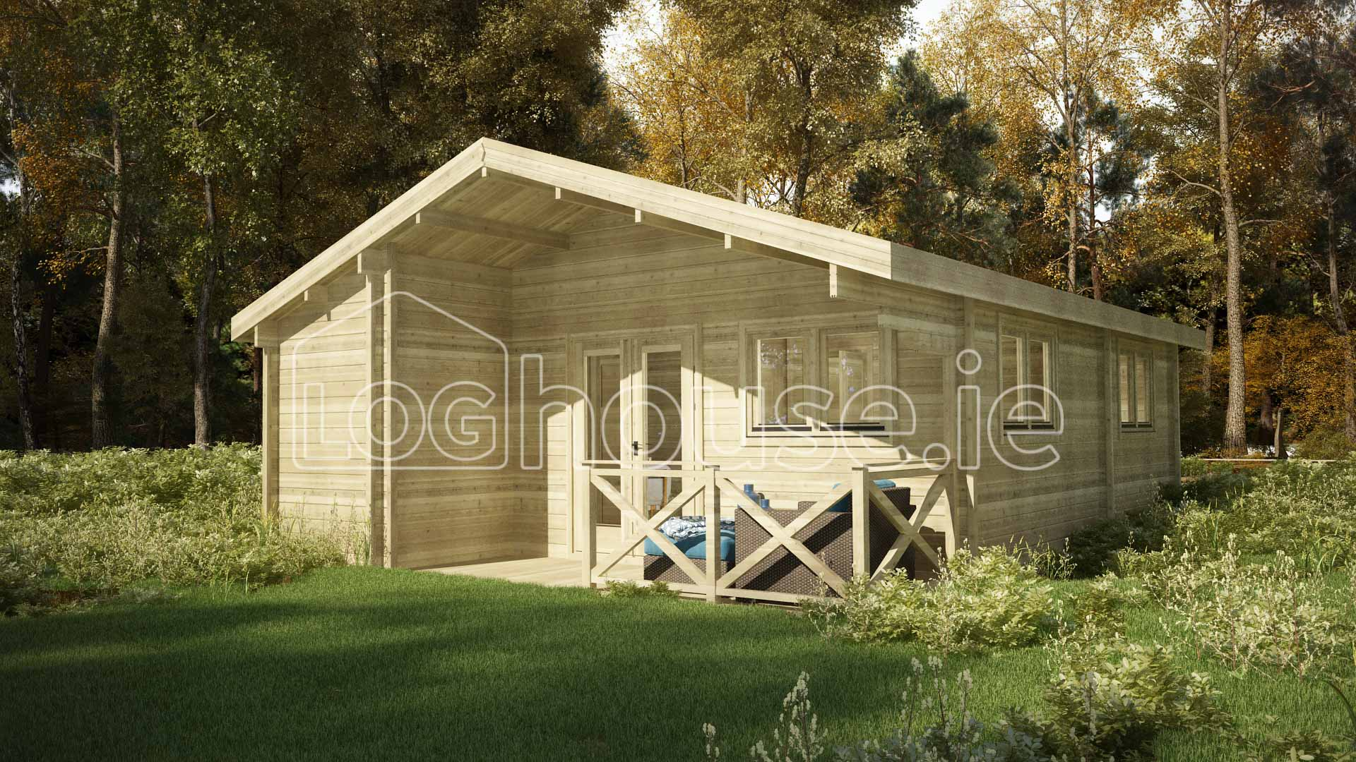 Two bed type e log cabin 6m x for 2 bed log cabins for sale