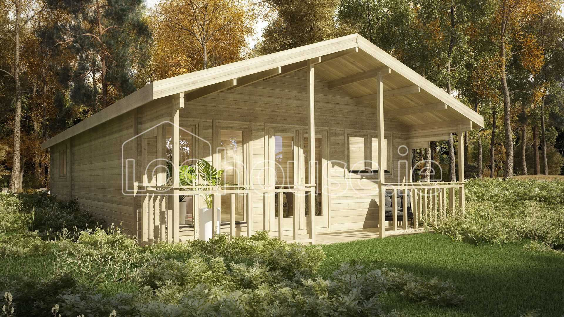 Two bed type f log cabin 6m x 11m for 2 bed log cabins for sale