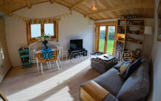 One Bed Log Cabin Living Room Side