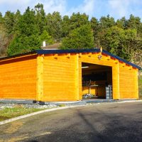 Garage Log Cabin Feature
