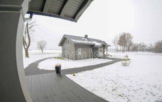 Glulam Log Cabin House Outside Winter