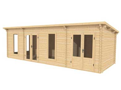 Custom two room log cabin 8.0m x 3.0m