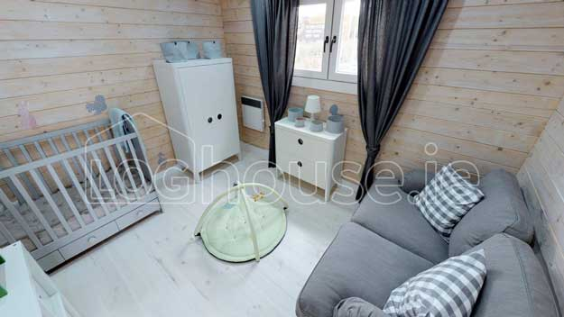 two bed log cabin Ireland - Baby's Room interior