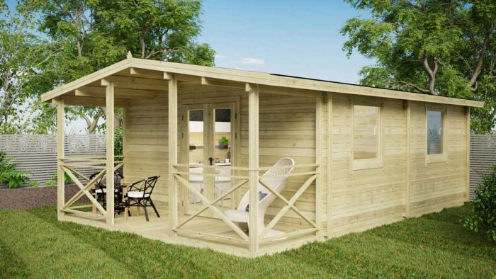 One Bed Type E Log Cabin Exterior